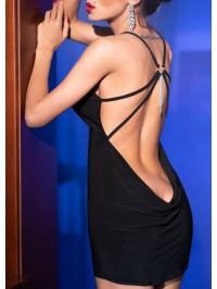 Robe dos nu avec bijou - Noire