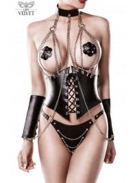 Corset faux cuir et chaines...